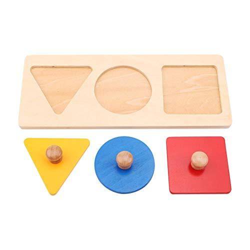 Cikonielf Kinder Erstes Greifpuzzle Baby Grabbing Puzzles Spielzeug Kinder Stapel Holzpuzzle Steckpuzzle Geometrische Formen Für Kindergarten Und Vorschule(Dreifarbiges Bedienfeld)