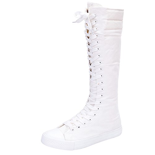 Jamron Mädchen Damen Modisch Knie Hoch Schnüren Segeltuch Stiefel Rein Weiß Leinenschuhe Reißverschluss Tanzschuhe SN811 EU35