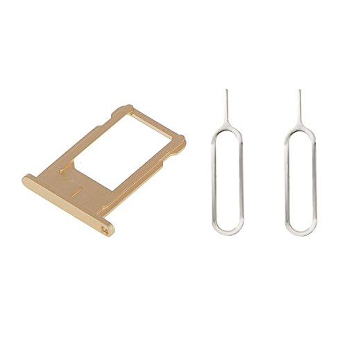 Mobofix Portatarjetas SIM Card Tray SIM Titular de la Tarjeta Oro para iPhone 6 + 2 SIM Aguja Nail Expulsar Pines