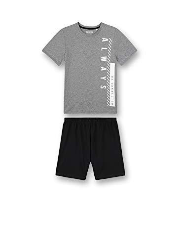 Sanetta Jungen Schlafanzug kurz grau Pyjamaset, Elite Grey Mel, 176