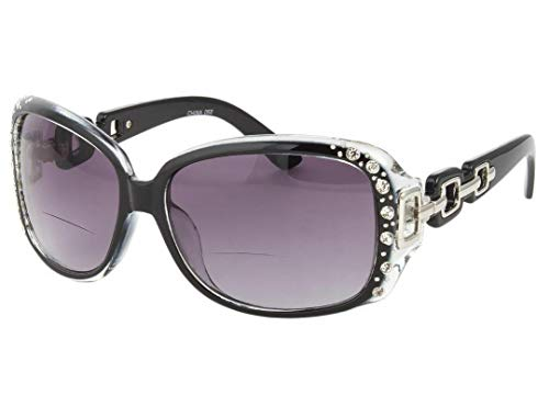 Bifokale Lesebrille Damen Oversize Schwarze Brille Glänzende Steine UV400 Hard Case Tuch 2,5