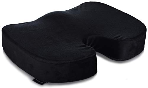 Memory Foam Seat Cushion  Comfort Orthopedic Design to Relieve Sciatica Coccyx and Tailbone Back Pain Conforms to Body Shape and Promotes Healthy Posture Perfect Gel Cushion for Office Desk Chair