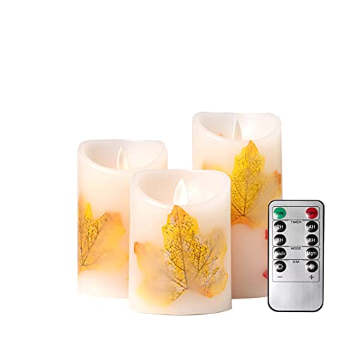 Frameless Candles LED Candles Battery Operated Candles, Real Wax Battery Candles with Remote Timer for Home, Weddings, Parties and Gifts(Maple)