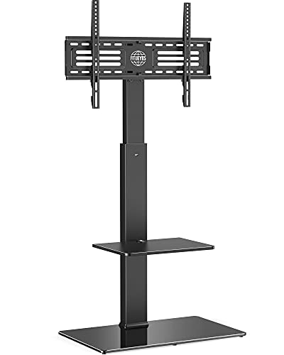 FITUEYES TV Floor Stand with Mount for TVs up to 65 Inch LCD LED Flat/Curved Screens, Universal Swivel Televisions TV Mount Stand for Bedroom Living Room, Black Tempered Glass Base,TT207001MB