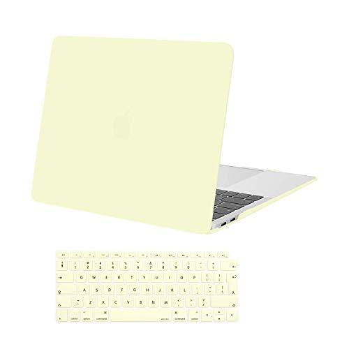 MOSISO Funda Dura Compatible con 2020 2019 2018 MacBook Air 13 Pulgadas A2337 M1 A2179 A1932 con Touch ID,Ultra Delgado Carcasa Rígida Protector de Plástico Cubierta & Piel de Teclado,Amarillo Crema