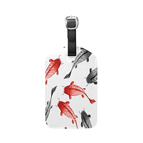 Etiquetas para equipaje Pescados Rojos Negros Arte Equipaje Etiquetas de Maleta Nombre Etiqueta de Dirección ID de Cuero para Viajes(1piezas)