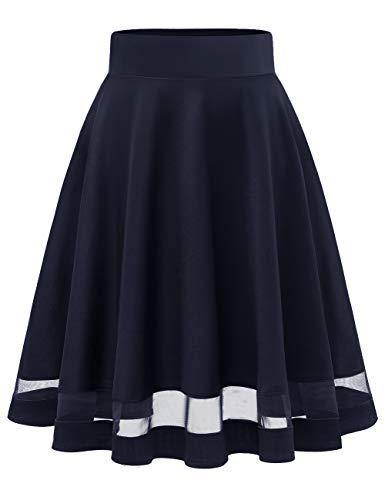 MuaDress 9003 Damen Mädchen Basic Kurz Rock Solide Glocken dehnbaren informell Röcke Marineblau Durchschauen L