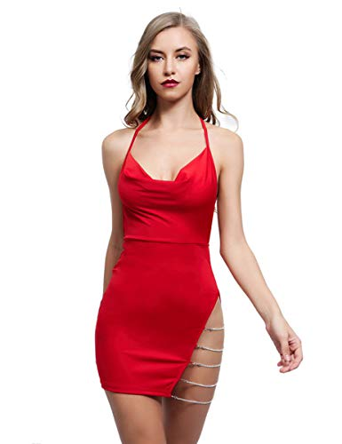 Lath.Pin Damen Kleid, Sexy Kleid, Disco Kleid, Deep V Stretch Clubwear Party Dress Kombination Sexy Erotik Backless Lack Nightclub Stripper Gr. Small, rot