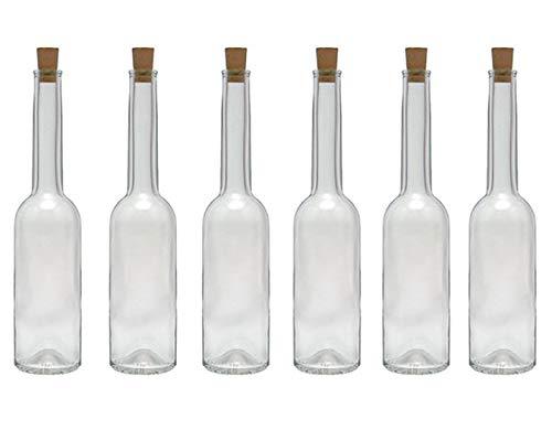 Hocz - Juego de botellas de cristal con tapón de corcho para licor, 6/10 piezas, capacidad 100 ml, tapón de corcho, botella de aceite, vidrio, 6er Set
