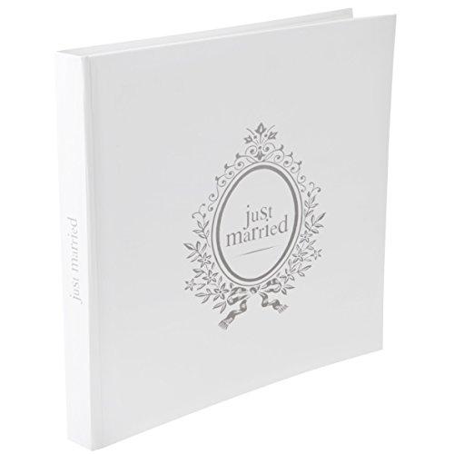 Il Libro degli Ospiti/Album di Foto in Bianco con Argento Impronta Just Married Wedding Card