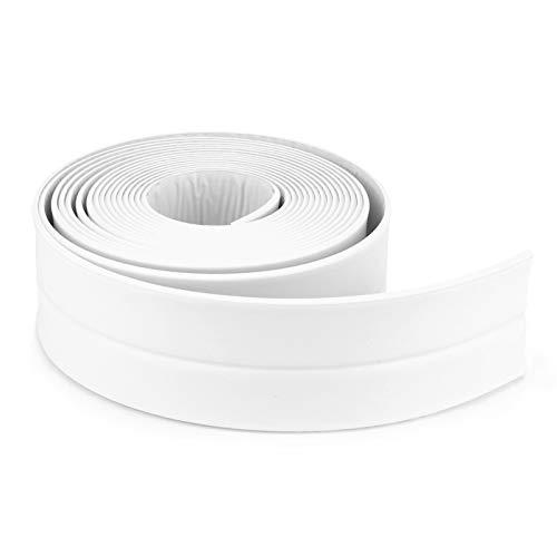MUXItrade Bande D'étanchéité Salle de bains joint silicone blan ruban baignoire PE auto-adhésive cuisine Coin calfeutrage ciseaux inclus (335x3.8CM)