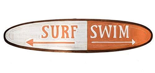 Interlifestyle Surfboard 100cm Deko für Surfer Surf Swim Strand Surfbrett Holzschild orange