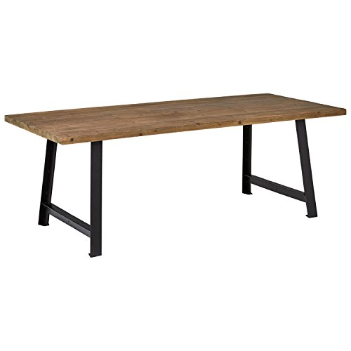 Rivet Rustic Industrial Dining Room Kitchen Table, 86.6 Inch Wide, Natural Wood, Black Iron