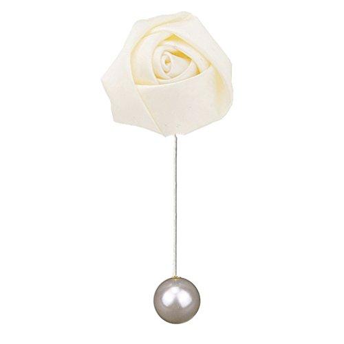 Hellery Rose Fleur épinglette Boutonnière Broches, Broches de Broche Fleur pour Hommes Garçons Costumes, Fête de Mariage, Bal, Accessoires de Retour - Beige