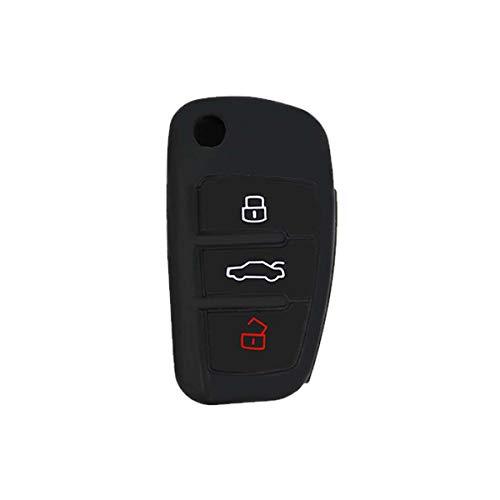 [Portachiave] Guscio Cover Chiave in Silicone per Telecomando Auto Audi 3 tasti (vedere compatibilità nelle foto) A1 A3 A4 A6 A8 TT Q5 Q7 R8 S4 S6 (NERO)