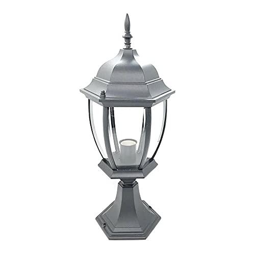Gloriashoponline LAMPIONE PER CANCELLO LAMPIONCINO LANTERNA IN VETRO ATTACCO E27 GRIGIO ES45