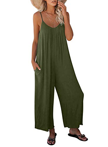 Dokotoo Women's Loose Jumpsuits for Women Adjustable Spaghetti Strap Stretchy Wide Leg Solid One Piece Sleeveless Long Pant Romper Jumpsuit with Pockets Green Small