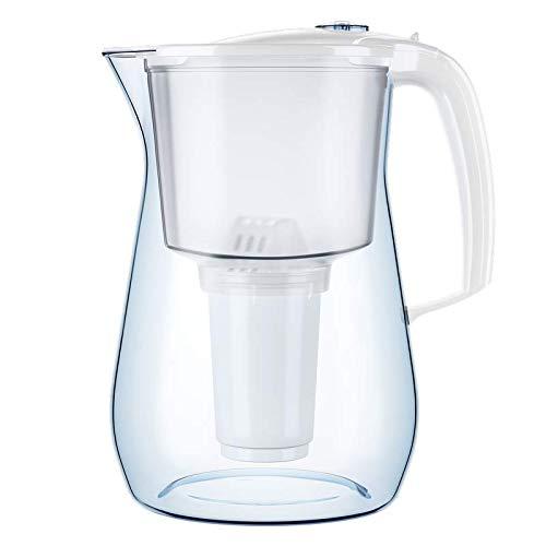 AQUAPHOR Provence weiß inkl. 1 A5 Filterkartusche-Premium-Wasserfilter in Glasoptik zur Reduzierung von Kalk, Chlor & Schwermetallen, Kunststoff, Volumen 4,2 l