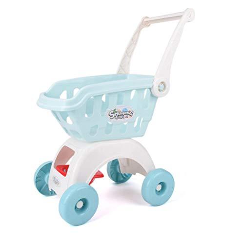 Juego de 1 carrito de la compra de simulación grande para bebé, frutas y verduras, corte de música, color azul