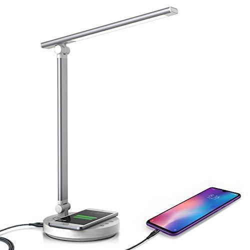 Schreibtischlampe LED Einstellbare Helligkeit,Tischlampe ladefunktion, USB, Touch Steuerung, Timer, Lesen, 5 Farb und 10 Helligkeitsstufen dimmbar, Mit Energiesparen[Energieklasse A++] (Silber)