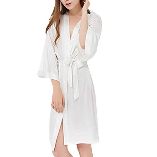 TYTUOO Frauen Nachtwäsche Lange Bademäntel Nachthemd Weiche Seide Bademantel Bademantel