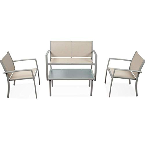 Luxurygarden - Juego de salón de jardín, mesa y sillas y sillón de exterior, de acero barnizado, diseño moderno, 110 x 58 x 75 cm, beige
