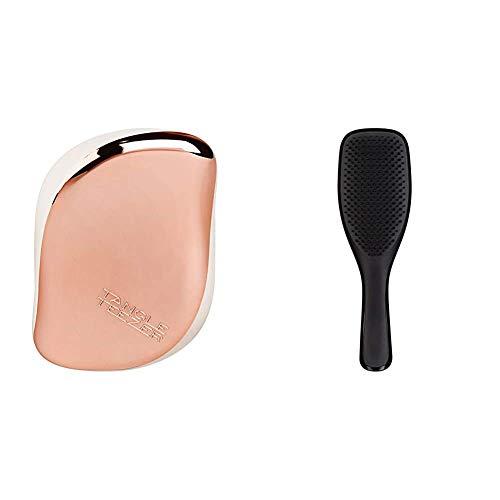 Tangle Teezer Compact Styler Rose Gold Cream & Wet Detangler Midnight Black, biegsamen Borsten und handlichem Griff