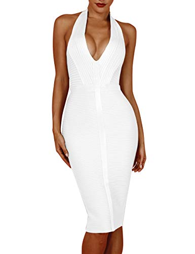 whoinshop Women 's Halter Deep V Neck Cocktail Party Dress White L