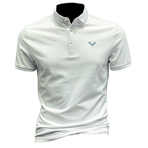 Polo Shirt Hombre Verano Tendencia Moda Impresión Diseño Botón Placket Hombre Henley Camisa Moderno Urbano Básico Slim Fit Elástico Manga Corta Casual Sport All-Match Shirt A-White 3XL