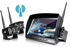ZEROXCLUB Digital Wireless Backup Camera System Kit No Interference IP69 Waterproof Wireless Rear View Camera 7''Wireless Reversing Monitor