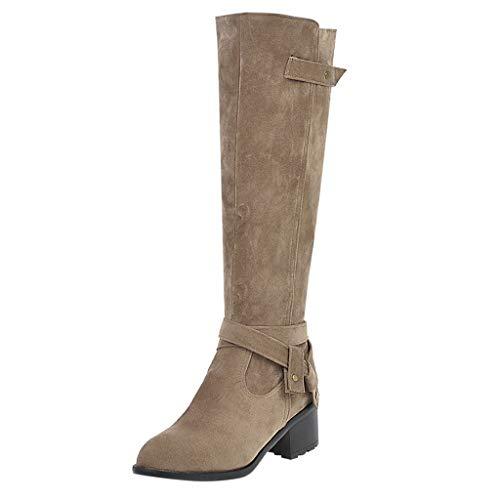 BHYDRY Damen Wildleder Damen Stiefel Rundkopf Stiefel Große lange Laufschuhe(36,Khaki)