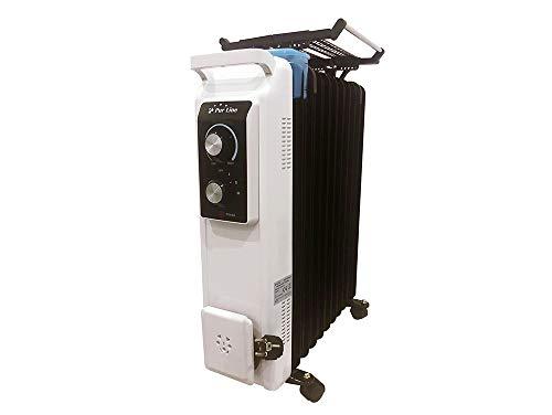 PURLINE RDA 2500 HT Radiador de Aceite de 2500 W de Potencia máxima con termostato y regulador de Potencia, tendedero y Recipiente humidificación