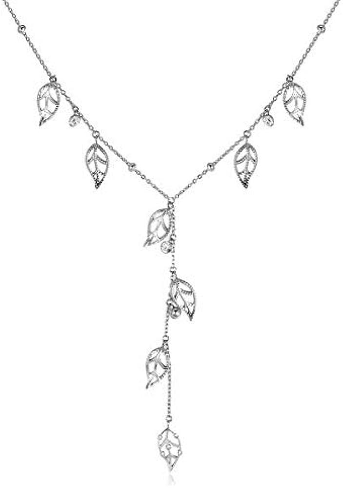 Brosway leaves of life- collana per donna in acciaio 316l e cristalli swarovski BVS03