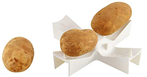 HOME-X Microwave Potato Baker, Perfect Addition to Any Kitchen, BPA Free-Dishwasher Safe-Up to 4 Potatoes- 5 3/4' D