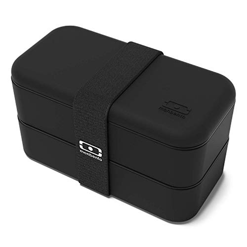 monbento - MB Original Noir Onyx bento Box Made in France - Lunch Box hermétique 2 étages - Boîte Repas idéale pour Le Travail/école - sans BPA - Durable et sûre