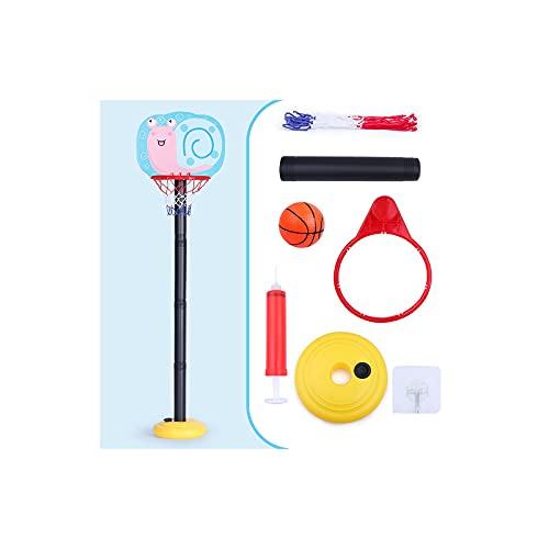 HONANA Aro de baloncesto y soporte, juego de baloncesto para niños de 2 a 6 años con red y bola para exteriores, juego deportivo ajustable (color: caracol)