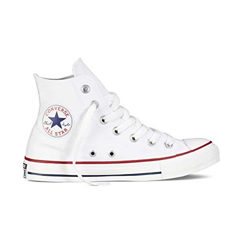 Converse Chuck Taylor All Star High Classic CTAS Hi Unisex Canvas Sneaker mit 7kmh Aufkleber Weiß 42.5