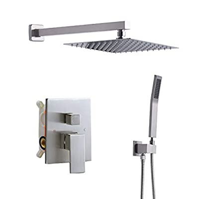 DoBrass Shower Faucet Set with Pre-embedded Valve, Brushed Nickel Shower System with 10-inch Square Showerhead and HandHeld Shower, Wall-Mounted