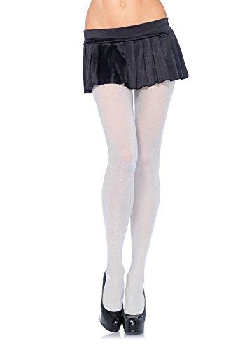 LEG AVENUE 7120 - Glitzer Lurex Strumpfhosen, Einheitsgröße, silber, Damen Karneval Kostüm Fasching
