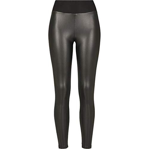 Urban Classics Damen High Waist aus Lederimitat mit Hoher Taille - Ladies Faux Leather Treggins Leggings, Schwarz (Black 00007), M EU