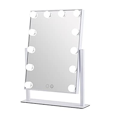 Geek-House Lighted Vanity Mirror Hollywood Style Makeup Tabletops, Large Cosmetic Mirror with 12 x 3W Super Bright Dimmable Touch Control LED Bulbs, White