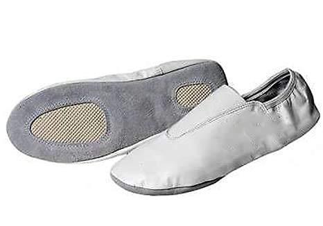 Zapatos de piel para gimnasia artística, rítmica, yoga, pilates, kárate, precompetición (47, blanco)