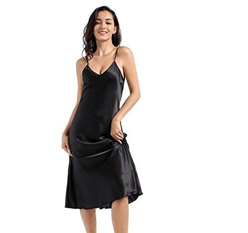 Zomer nieuwe nachthemd ruches dame nachtkleding nachthemd satijn spaghettibandjes rok intieme lingerie sexy huiskleding badjas zwart
