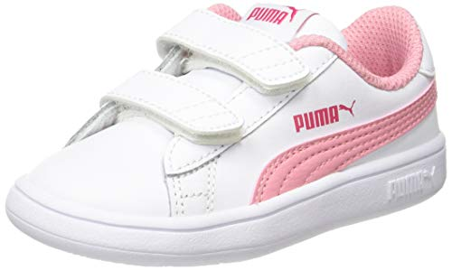 Puma Unisex Baby Smash V2 L V Inf Sneaker, Blanco White/Peony/Bright Rose 18, 23 EU