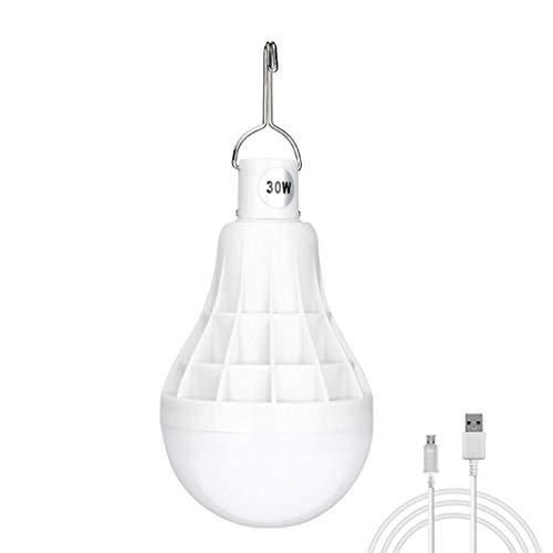 GJQION - Bombilla LED de 30 W para tienda de campamento ABS, anticaída, carga USB, segura y ahorro de energía, 20 horas de funcionamiento continuo, vida útil de 40.000 h