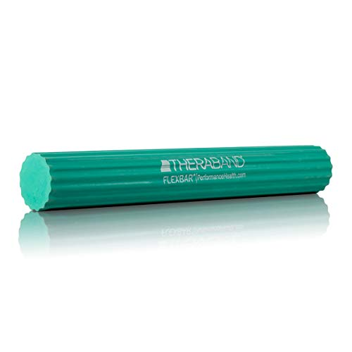 TheraBand FlexBar, Tennis Elbow Therapy Bar, Relieve Tendonitis Pain & Improve Grip Strength, Resistance Bar for Golfers Elbow & Tendinitis, Green, Medium, Intermediate