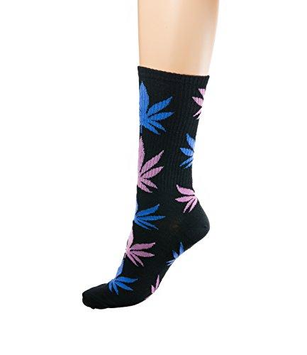 Morefaz Socks Highlife Ganja Leaf Weed Comfort Calf HI MFAZ Ltd Negro