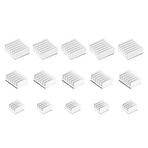 sourcing map Silver Tone Self Adhesive Aluminum Heatsink for RPI,14x14x6mm, 14x10x6mm, 9x9x5mm,5 Set Total 15pcs