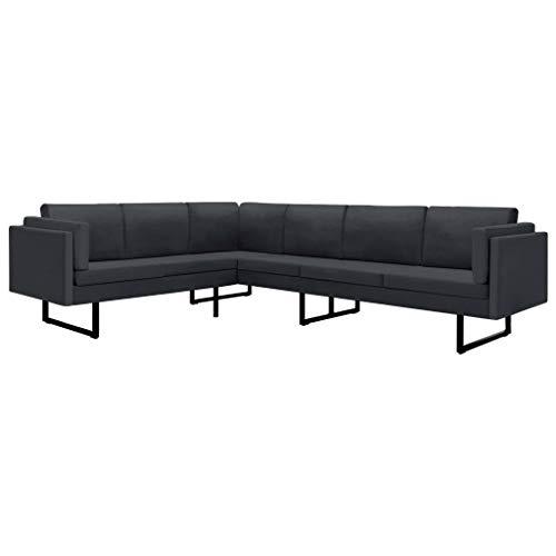 vidaXL Corner Sofa L-Shaped Home Living Room Loveseat Chaise Longue Loveseat Sofa Lounger Bed Dark Gray Fabric Steel