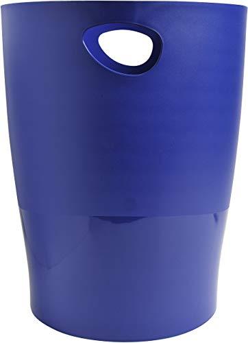 Exacompta 453104D ECOBIN Papierkorb 15 Liter mit Griffen. Eleganter und robuster Papierkorb und Mülleimer im modernen Design nachtblau Blauer Engel